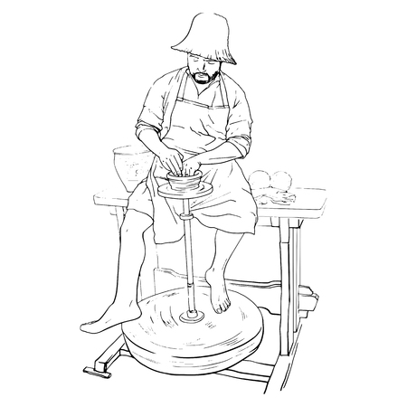 Professional male national potter working with clay on potter s mechanical wheel. Hand drawn illustration Çizim