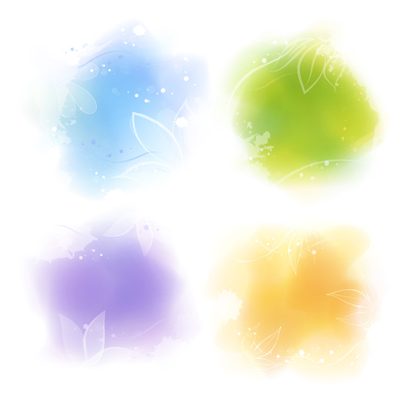 Set of four digital watercolor style colorful backgrounds Çizim