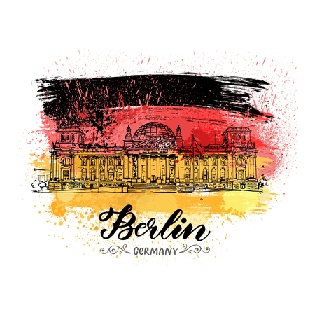 Hand drawn sketch of Reichstag on watercolor style flag Imagens - 106872967