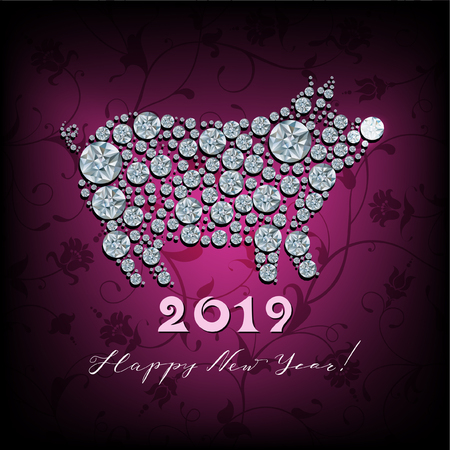 Boar, pig - silhouette of symbol 2019 year Imagens - 106994927