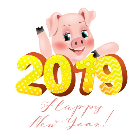 Happy New Year 2019 funny card Imagens - 107567232
