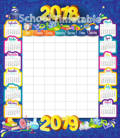 Calendar and School timetable for students or pupils on 2018-2019 year Çizim