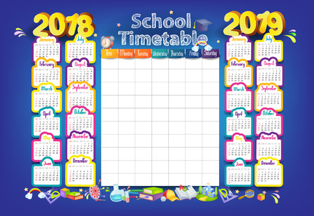 Calendar and School timetable for students or pupils on 2018-2019 year Ilustração