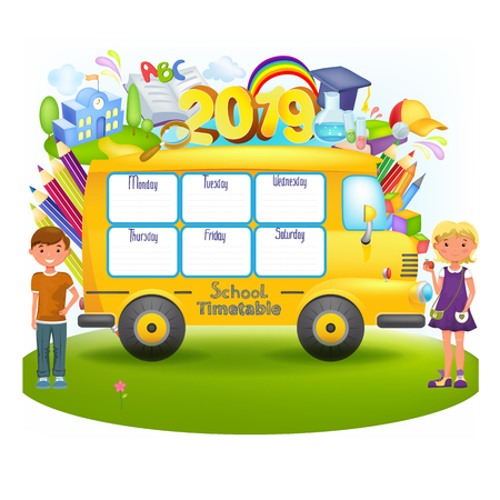 School bus with school timetable