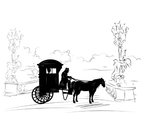 Illustration with wheelchair with a coachman, silhouette of coach and a lady sitting inside