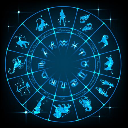 Blue horoscope circle