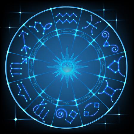 Blue horoscope circle Imagens - 109809416