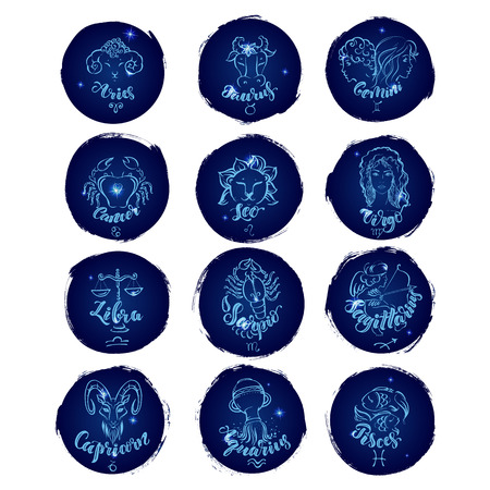 Set of round zodiac signs