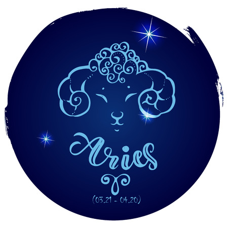 Round zodiac sign Aries Vectores