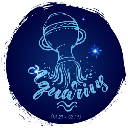 Round zodiac sign Aquarius