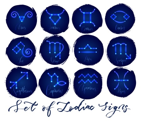 Zodiac signs in neon glowing style
