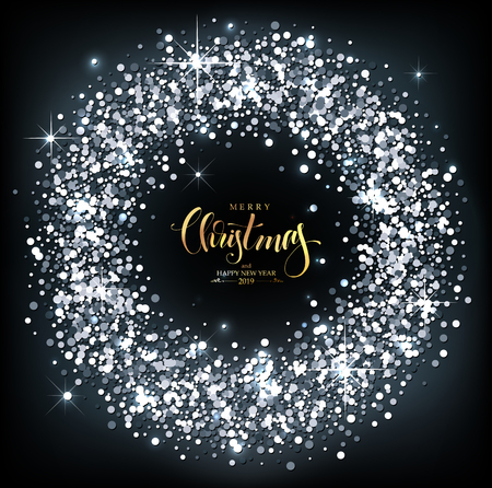 Christmas Background with silver sparkles with Calligraphic Seasons Wishes Stok Fotoğraf
