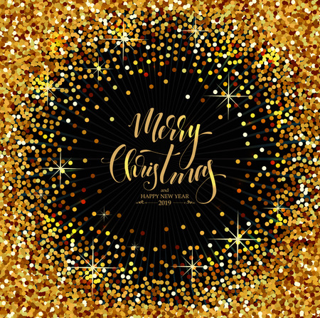 Christmas Decorative Background made of golden sparkles with Calligraphic Seasons Wishes Imagens - 111592056