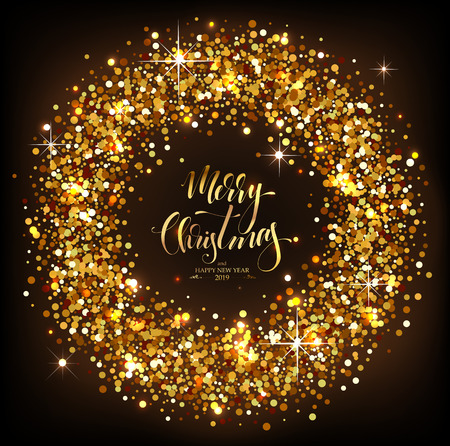 Christmas Decorative Background made of golden sparkles with Calligraphic Seasons Wishes Stok Fotoğraf