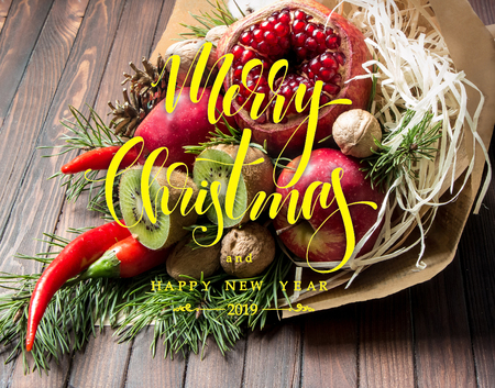 Christmas bouquet and modern hand drawn lettering Stok Fotoğraf