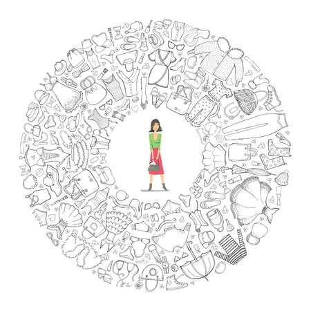 Set of Clothes, line art. Vector hand drawn doodle objects. Round composition with woman silhouette inside
