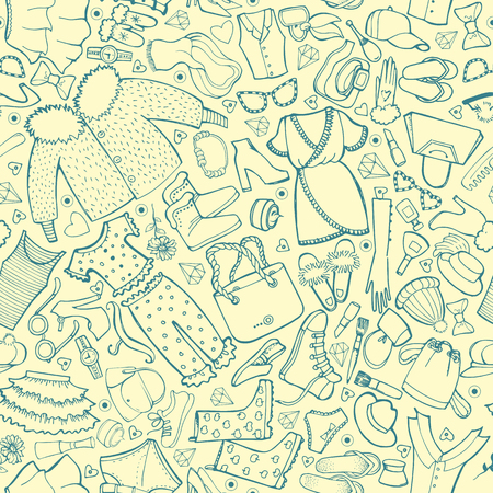 Seamless background with Clothes, line art. Vector hand drawn doodle wallpaper.