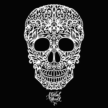 Cranio modellato disegnato a mano floreale disegnato a mano Vettoriali