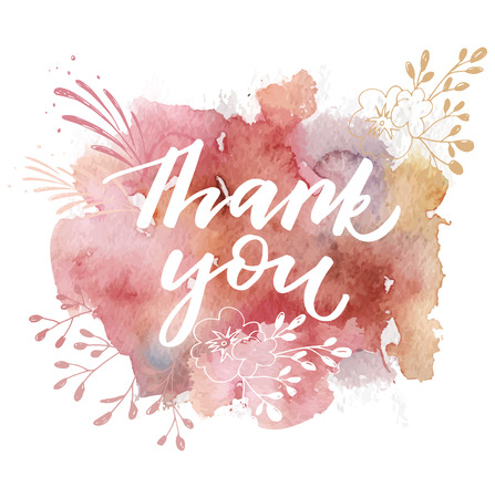Thank You Hand drawn calligraphy with watercolor abstract splashes