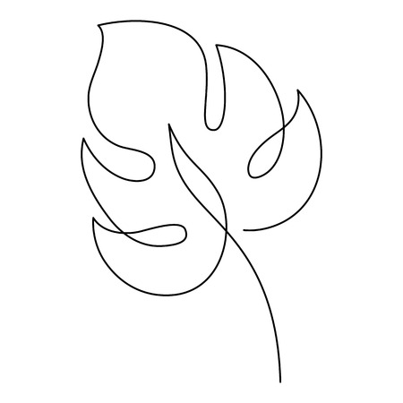 Monstera drawing in one line drawing. Minimal art for your design