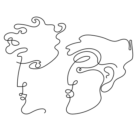 Man and woman faces in one line drawing style. Minimal art Imagens - 124007400