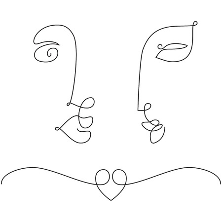 Man and woman faces in one line drawing style. Minimal art