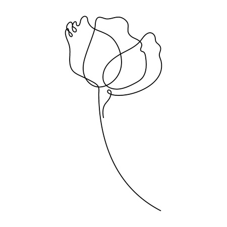 Flower drawing in one line drawing. Minimal art