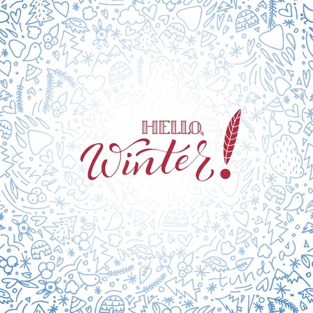 Hand drawn doodle seamless background in winter theme.