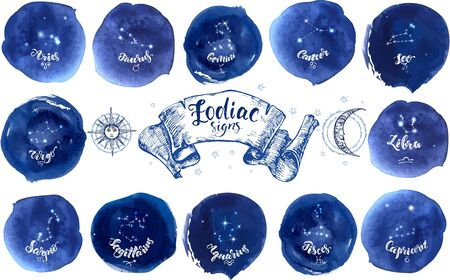 Collection of astrology signs on blue watercolor background