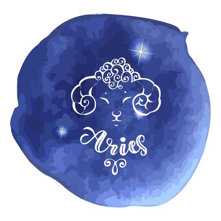 Astrology sign on blue watercolor background Illustration