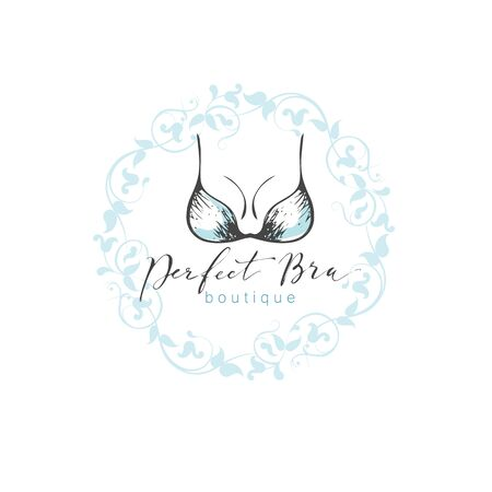 Vector emblem woman lingerie theme with lettering