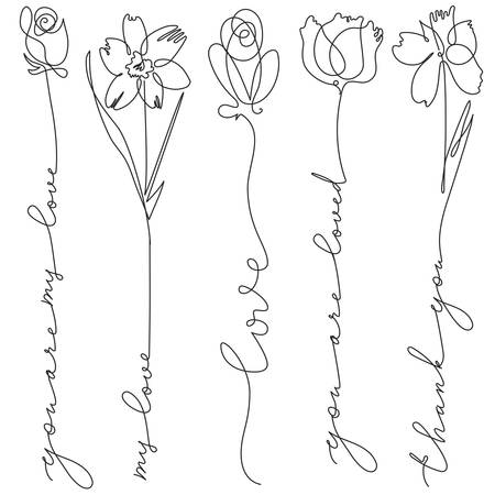 Set of line art flowers with lettering