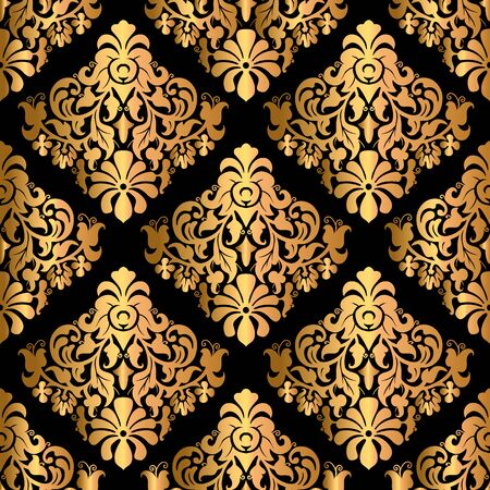 Luxury decorative seamless pattern on black background, 向量圖像
