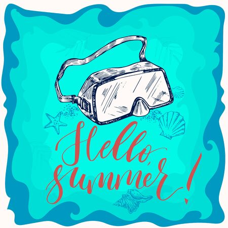 Summer background with diving mask and lettering