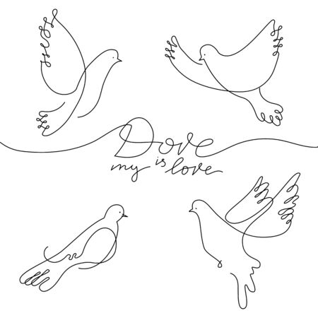 Dove in line art style  イラスト・ベクター素材