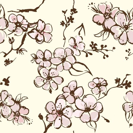 Springtime wallpapper with apricot blossom vector sketch
