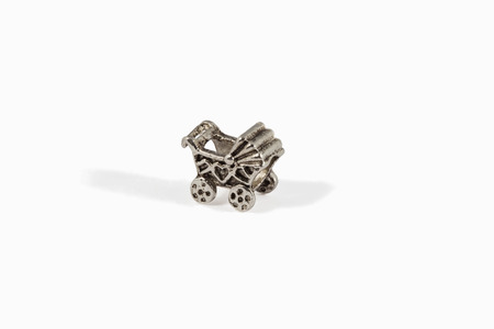 isolated silver bead for diy