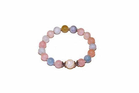 Morganit und Perlenquarz Natursteinarmband Silberperlen