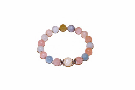 morganite and pearl quartz natural stone bracelet silver beads