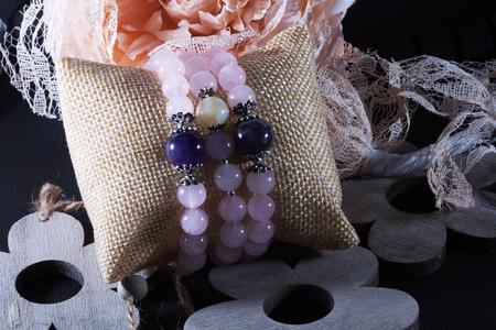 pink quartz amethyst natural stone bracelet beads