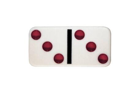 one white piece game figure dominoe isolated Stock Photo