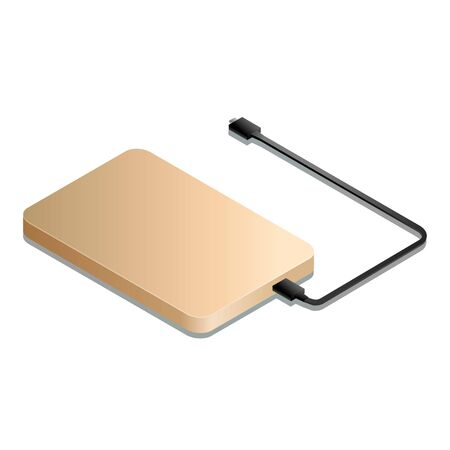 Vector illustration of a gold-colored external hard drive with a black usb cable in isometry.