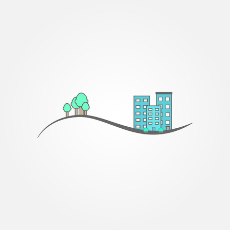 city background: Line city background vector
