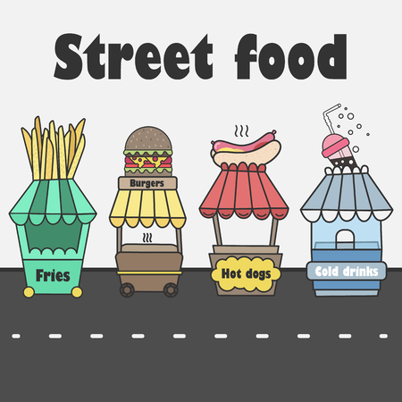 cart: Vector stalls with street food. Fast food and cold soda. Hot dogs, hamburgers, fries, soda