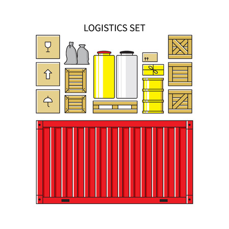 crates: Logistics set. Cargo container, carton packaging box, pallet, res container, wooden crates, metal barrel, bagful isolated on white background.