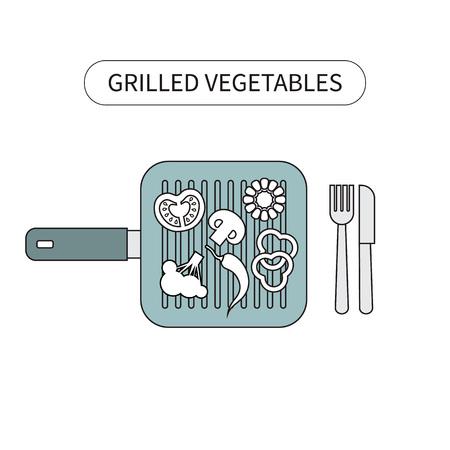 freshly: Freshly grilled vegetables on grilling pan placed.