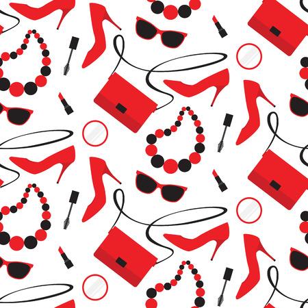 Seamless avec les accessoires de mode pour femmes: sacs à main, chaussures, rouge à lèvres, mascara, lunettes de soleil