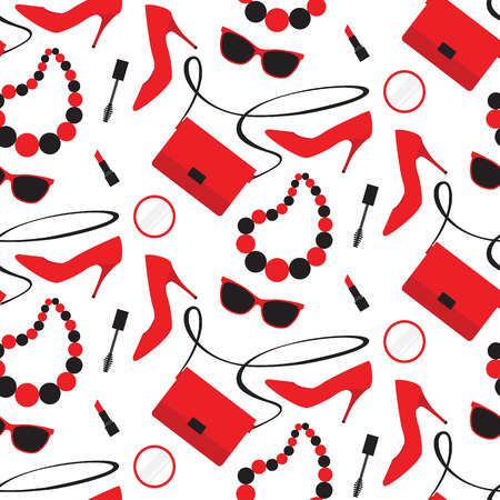 Seamless pattern with womens fashion accessories: handbag, shoe, lipstick, mascara, sunglasses Illustration