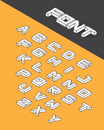 Isometric 3d type font set. Vector illustration