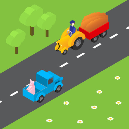 tractor trailer: Vector isometric illustration of agricultural equipment, farm tractor, trailer Illustration